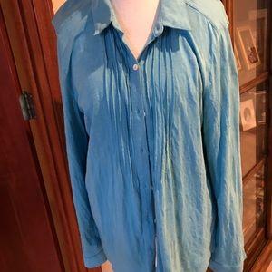J Jill Blue Button Down Shirt Size XL